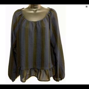 Merona blue and black stripe blouse